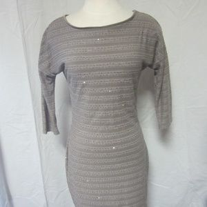 Express Womens Small Tan with Sparkle Party Dress